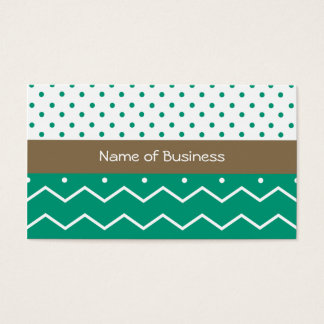Emerald Chevrons and Polka Dots Business Card