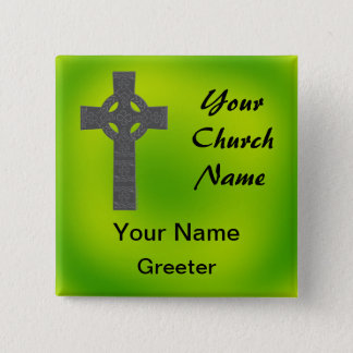 Emerald Church Greeter Nametags with Celtic Cross 2 Inch Square Button