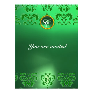 EMERALD DAMASK GEM STONE MONOGRAM green Invite
