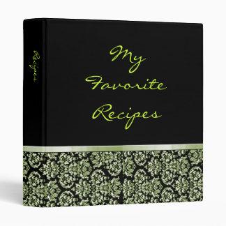 Emerald Damask Ribbon Recipe Book 3 Ring Binders