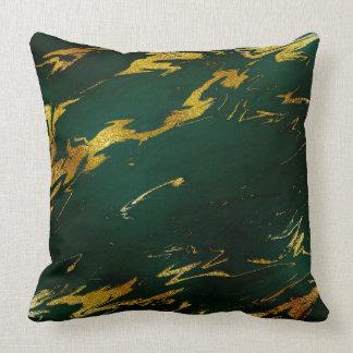 Emerald Deep Green Earth Tones Gold Marble Throw Pillow