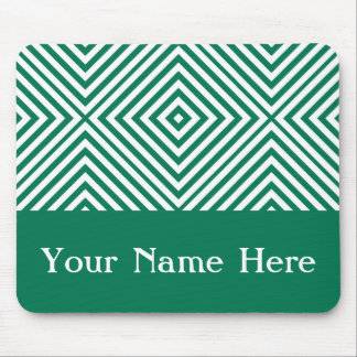 Emerald Diamond Chevron with custom name Mouse Pad
