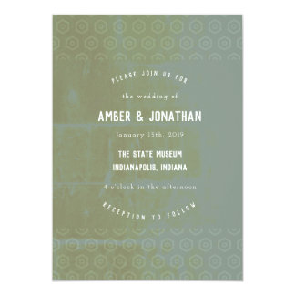 Emerald Distressed Elegance Wedding Invitation