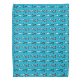 Emerald Dogs and Bones Graffiti Style Blue Duvet