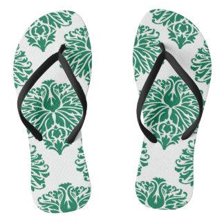 Emerald Elegant Damask Flip Flops