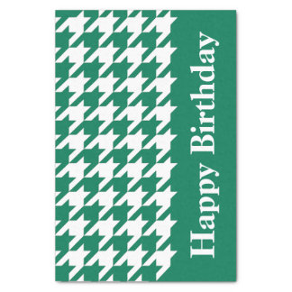 Emerald Elegant Houndstooth with custom text Tissue Paper