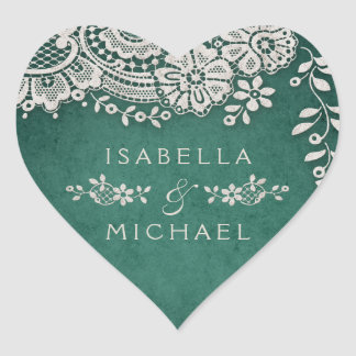 Emerald elegant vintage lace rustic wedding favor heart sticker
