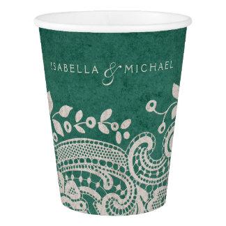Emerald elegant vintage lace rustic wedding paper cup