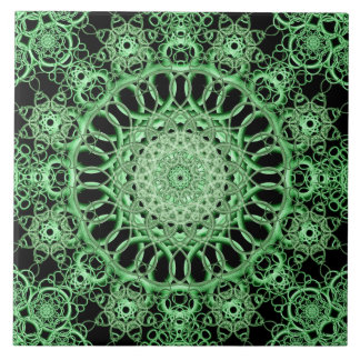 Emerald Eye Mandala Ceramic Tile