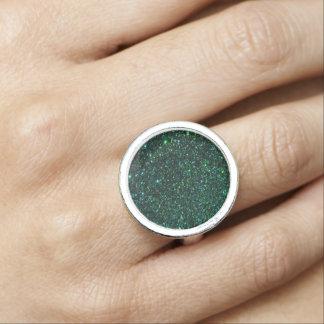 Emerald  Faux Glitter  Design Photo Rings