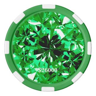 Emerald Gem Stone Clay Poker Chip Stripe Edge