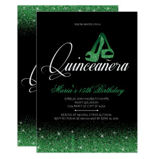 Emerald Glitter, Quinceanera Invitations