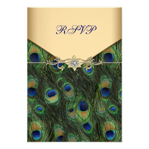 Emerald Gold Peacock Wedding RSVP Custom Invitation
