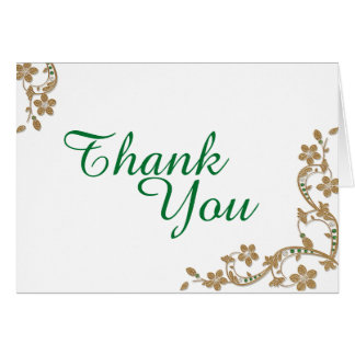 Emerald & Gold Thank You Card