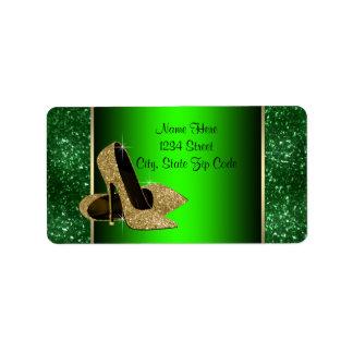 Emerald Green and Gold High Heel Shoe Address