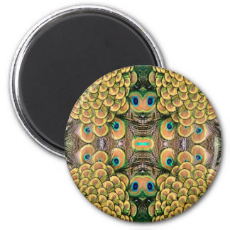 Emerald Green and Gold Peacock Feathers 2 Inch Round Magnet