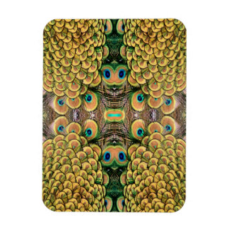Emerald Green and Gold Peacock Feathers Rectangular Photo Magnet