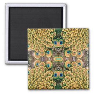 Emerald Green and Gold Peacock Feathers Square Magnet