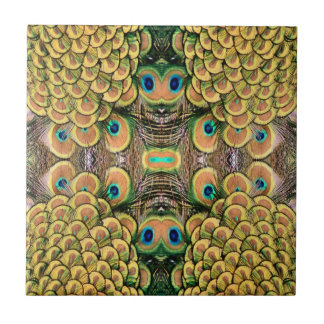 Emerald Green and Gold Peacock Feathers Tiles
