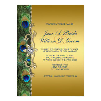"""Emerald Green and Gold Peacock Wedding 5.5"""" X 7.5"""" Invitation Card"""
