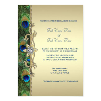 """Emerald Green and Gold Peacock Wedding 5"""" X 7"""" Invitation Card"""