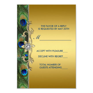 "Emerald Green and Gold Peacock Wedding RSVP 3.5"" X 5"" Invitation Card"