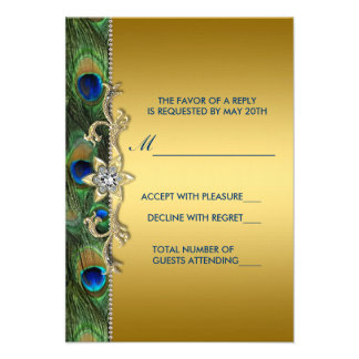 Emerald Green and Gold Peacock Wedding RSVP Invitation