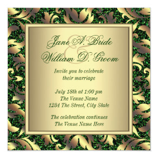 Emerald Green and Gold Wedding Card
