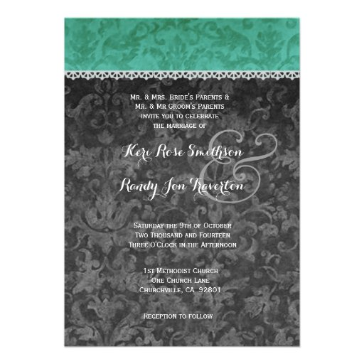 Emerald Green and Gray Damask Wedding Ver 018 Personalized Invitation