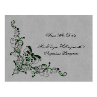 Emerald Green and Silver Enbellished Swirls Save T Postcard