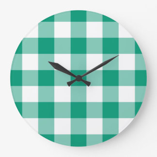 Emerald Green And White Checks Gingham Pattern Large Clock