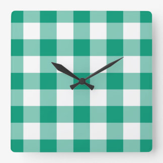 Emerald Green And White Checks Gingham Pattern Square Wall Clock