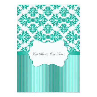 Emerald Green and White Damask Wedding Invitation