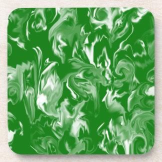 Emerald Green and White Design Coaster -