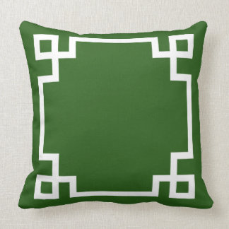 Emerald Green and White Greek Key Pattern Pillow