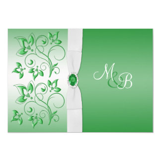 Emerald Green and White II Monogram Invite