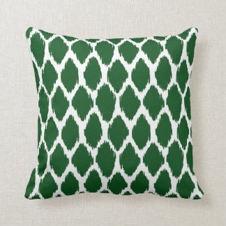 Emerald Green and White Ogee Patterned Throw Pillow