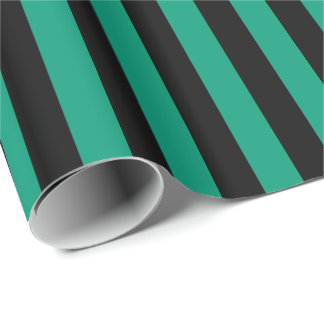 Emerald Green/Black Stripe Wrapping Paper