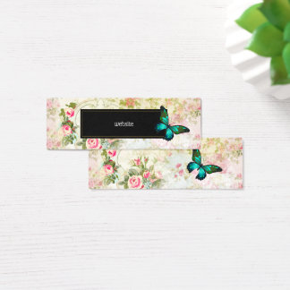 Emerald Green Butterfly on Chic Vintage Collage Mini Business Card