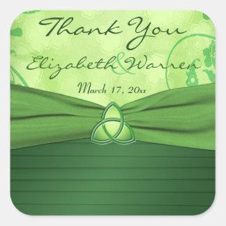 Emerald Green Celtic Love knot Wedding Favor Square Sticker