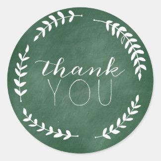 Emerald Green Chalkboard Thank You Laurel Sticker