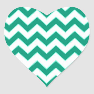 Emerald Green Chevron Pattern Heart Wedding Seal