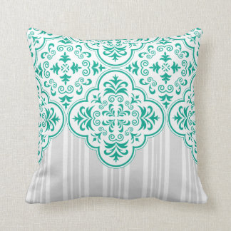 Emerald Green Classy Stripes Damask Throw Pillow