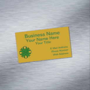 Emerald green business cards profile cards zazzle ca emerald green clover ribbon magnetic business card reheart Gallery