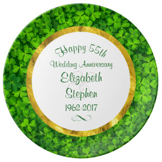 Emerald Green Clovers 55th Anniversary Porcelain Plates