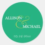Emerald green custom ampersand wedding favour labe round stickers