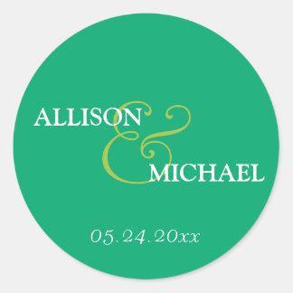 Emerald green custom ampersand wedding favour round sticker