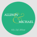 Emerald green custom ampersand wedding favour round sticker