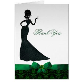 Emerald Green Damask Bridal Shower Thank You Card
