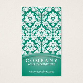 Emerald Green Damask Business Card